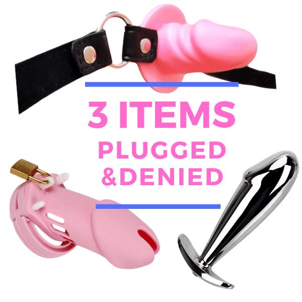 sissy set with 3 items, gag, plug, chastity