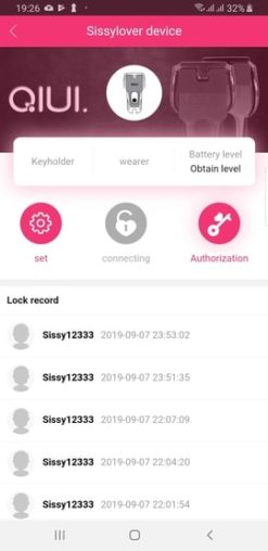 chastity app lock records