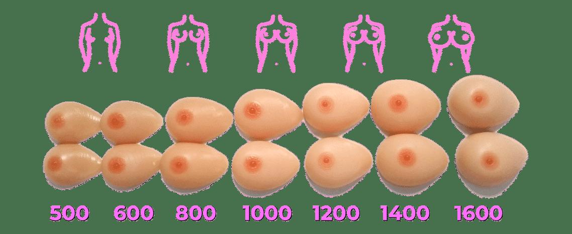 fake boobs size comparison